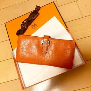 エルメス(Hermes)のエルメス ベアン 長財布 財布 レザー オレンジ メンズ レディース(長財布)