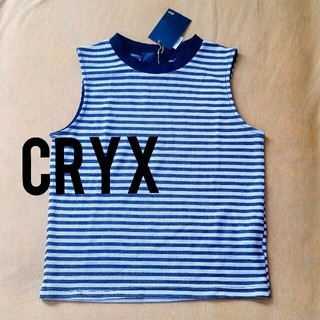 クリックス(CRYX)の[新品]定価2千円 CRYX モノクロボーダー ハイネック  タンクトップ(カットソー(半袖/袖なし))