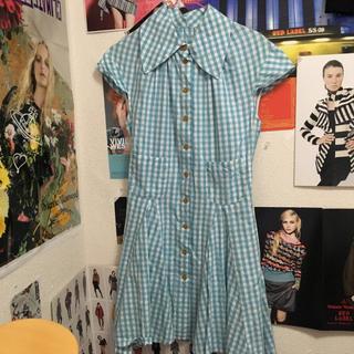ヴィヴィアンウエストウッド(Vivienne Westwood)のヴィヴィアンウエストウッド ギンガムチェック ワンピース 水色 ブルー(ひざ丈ワンピース)