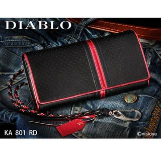 ディアブロ(Diavlo)のDIABLO ディアブロ  牛革長財布  パンチング ライン KA801 レッド(長財布)