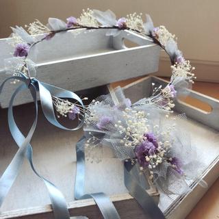 チュールとお花 花かんむりとリストレット(ヘッドドレス/ドレス)