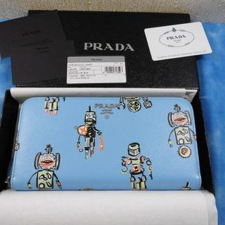 プラダ(PRADA)の★正規品 プラダ 長財布 ラウンド ロボット ブルー 未使用品(財布)