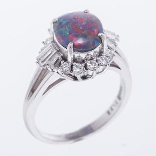 天然ブラックオパール 1.35ct 指輪 ダイヤ プラチナ 100199(リング(指輪))