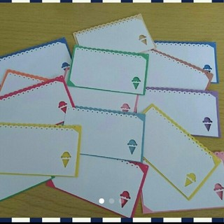 ④【15枚】2wayシンプルなアイスクリームのメッセージカード(カード/レター/ラッピング)