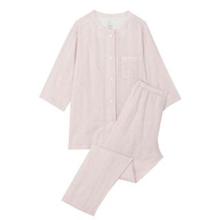 MUJI (無印良品) - 脇に縫い目のない細番手二重ガーゼ七分袖パジャマ