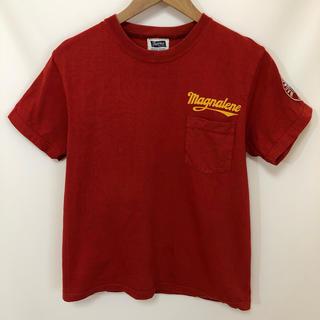 フェローズ(PHERROW'S)のPHERROW'S デカ ロゴ プリント ワッペン ポケット Tシャツ 赤 M(Tシャツ/カットソー(半袖/袖なし))