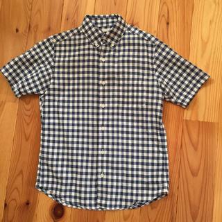ジーユー(GU)のGU 綿麻半袖ギンガムチェックシャツ(シャツ)