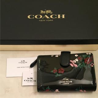 コーチ(COACH)の新品 coach 二つ折り財布 ブラック ローズ(財布)