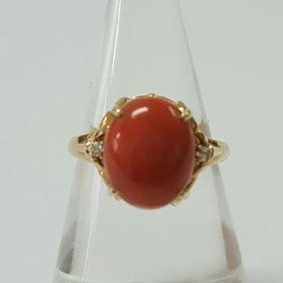 コーラルとダイアモンドのリング(リング(指輪))
