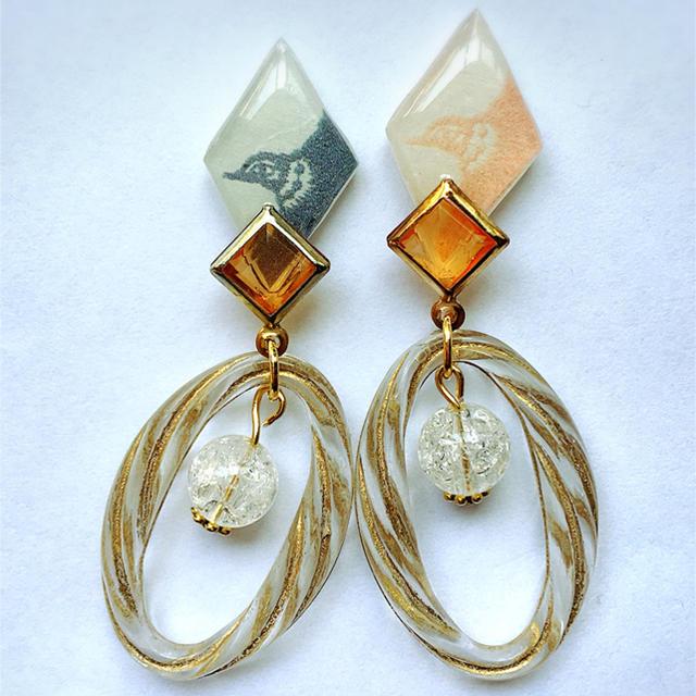 つばめとリングのピアスまたはイヤリング*ミナペルホネン  ハンドメイドのアクセサリー(ピアス)の商品写真