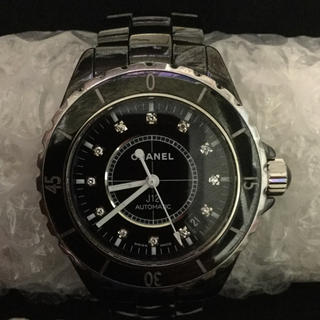 シャネル(CHANEL)のCHANEL J12 38㎜ ブラック 12P ダイアモンド(腕時計(アナログ))