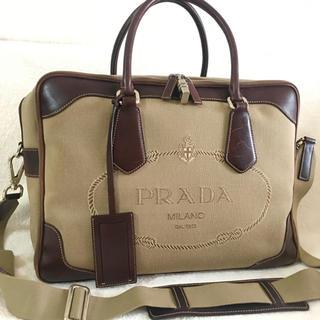 プラダ(PRADA)のプラダ PRADA ビジネスバッグ カーキ 出張 トラベル 本革使用(ビジネスバッグ)