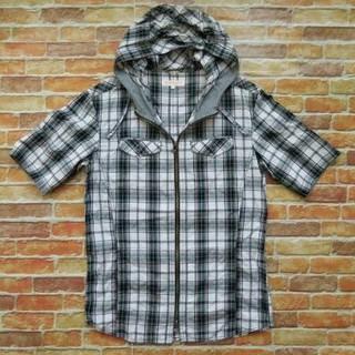 ハイダウェイ(HIDEAWAY)のHIDE AWAYS NICOLE 袖切替ジップアップジャケットチェックシャツ(シャツ)
