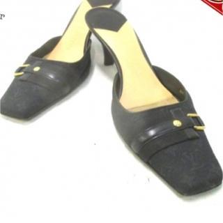 ルイヴィトン(LOUIS VUITTON)のルイヴィトン LOUIS VUITTON 靴 ミュール ジャガード×レザー 黒 (ハイヒール/パンプス)