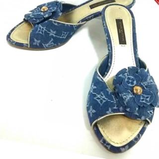 ルイヴィトン(LOUIS VUITTON)のルイヴィトン 靴 ミュール 34 デニム ネイビーライトブルー(サンダル)
