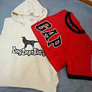 ドッグデプト(DOG DEPT)の【GapのTシャツ付♪】秋物♪「Dog Dept」フード付コットンベスト/120(Tシャツ/カットソー)