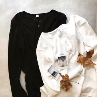 トゥデイフル(TODAYFUL)の*ヘンリーネックTシャツ*ホワイト(Tシャツ/カットソー(七分/長袖))