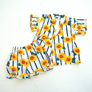 アンパサンド(ampersand)のアンパサンド 甚平 90 女の子 浴衣 ひまわり (甚平/浴衣)