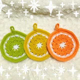柑橘色☆アクリルたわし(キッチン小物)