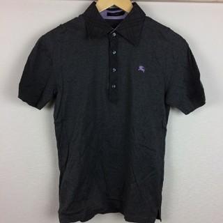 バーバリーブラックレーベル(BURBERRY BLACK LABEL)の美品 BURBERRY BLACK LABEL 半袖ポロシャツ チャコールグレー(ポロシャツ)