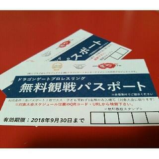 【2枚セット】ドラゴンゲート プロレスリング 無料観戦パスポート(格闘技/プロレス)