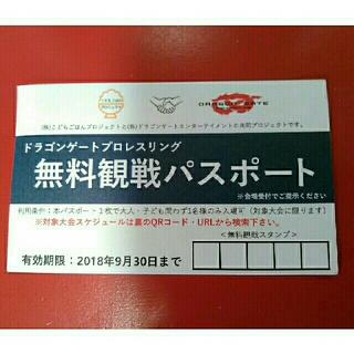 【1枚】ドラゴンゲート プロレスリング 無料観戦パスポート(格闘技/プロレス)