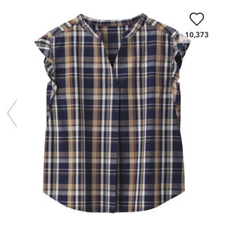 ジーユー(GU)のGU/ジーユー  マドラスチェックブラウス ネイビー 紺 S(シャツ/ブラウス(半袖/袖なし))