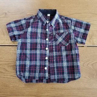 ムジルシリョウヒン(MUJI (無印良品))の美品 無印良品 半袖 ワイシャツ 90センチ チェック(ブラウス)