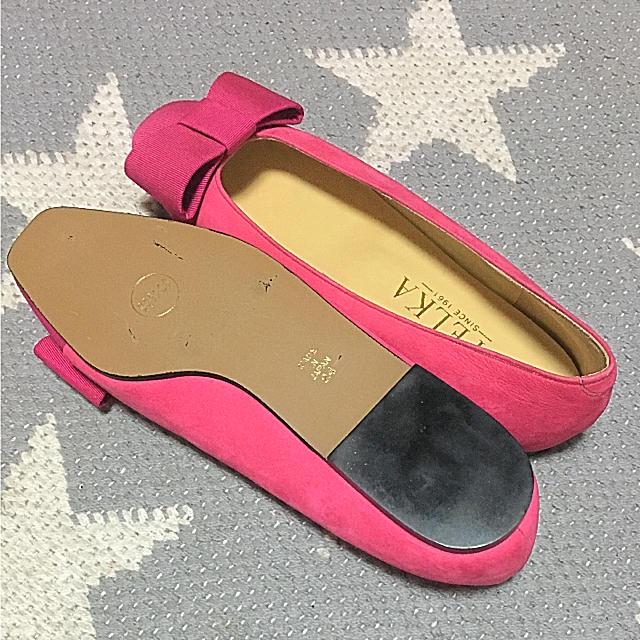 ZARA(ザラ)の新品  OPELKA リボン ピンク フラットシューズ M レディースの靴/シューズ(バレエシューズ)の商品写真