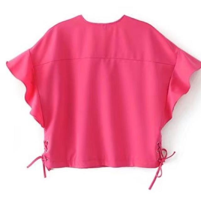 ZARA(ザラ)のあきさま専用▶︎ZARA フリルトップス ピンク M レディースのトップス(シャツ/ブラウス(半袖/袖なし))の商品写真