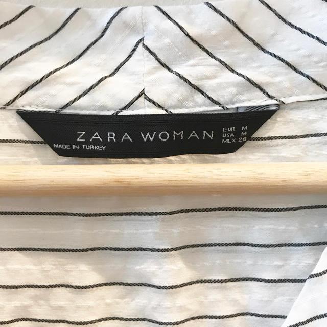 ZARA(ザラ)のZARA プルオーバー ブラウス ピンストライプ Vネック M レディースのトップス(シャツ/ブラウス(長袖/七分))の商品写真