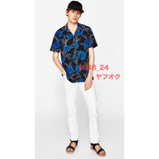 ZARA - 新品 完売 ZARA MAN 花柄 シャツ M 40 メンズ 黒 青 半袖