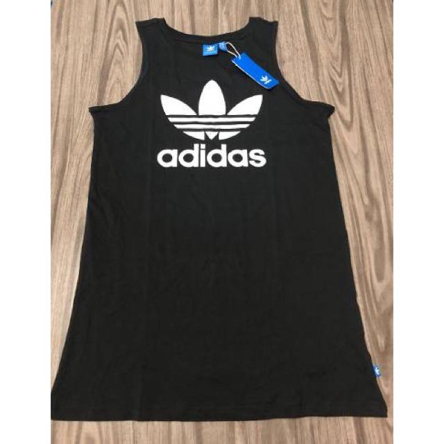 adidas(アディダス)のOT(XL) size  黒 ワンピース  アディダスオリジナルス レディースのワンピース(ミニワンピース)の商品写真