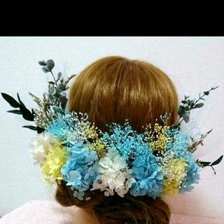 本物花 プリーザーブドフラワー 綺麗アジサイ&ミニカスミソウヘッドドレス(ヘッドドレス/ドレス)