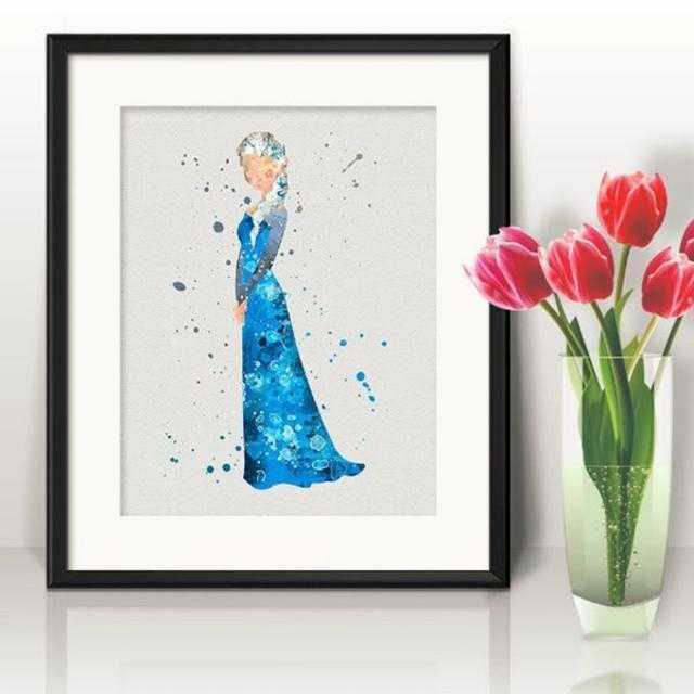 Disney(ディズニー)のエルサ(アナ雪・アナと雪の女王)アートポスター【額縁つき・送料無料!】 エンタメ/ホビーのアニメグッズ(ポスター)の商品写真