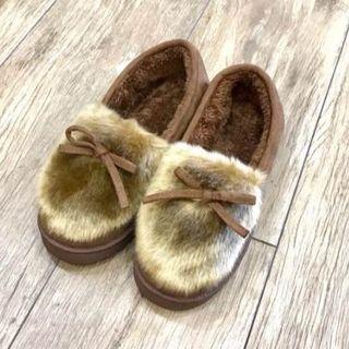 うわ靴 厚底靴  冬 レディースブーツ ショート靴 ブーツ コーヒー(スリッポン/モカシン)