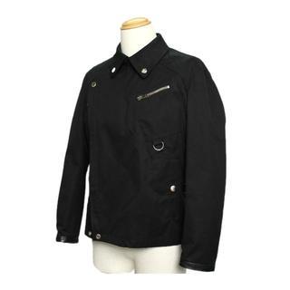 グッチ(Gucci)のグッチ メンズ ジャケット ライダース コットン×レザー ブラック 100218(ライダースジャケット)
