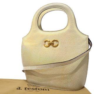 アテストーニ(a.testoni)のア・テストーニ 2WAY ハンドバッグ バイカラー ゴールド×シルバー15400(ハンドバッグ)