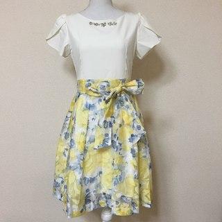 【売り切れました】♡ドッキングワンピース ドレス 花柄 イエロー(ひざ丈ワンピース)
