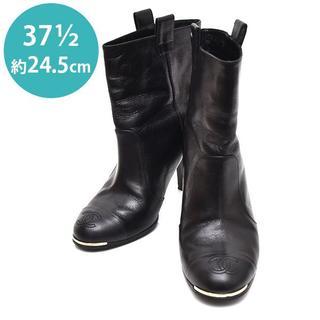 シャネル(CHANEL)のシャネル ココマーク ショートブーツ 37 1/2(約24.5cm)(ブーツ)
