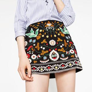ZARA - ZARA 刺繍スカート