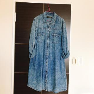 シマムラ(しまむら)の大きいサイズ デニム ワンピース ダンガリーシャツ 4L(ひざ丈ワンピース)