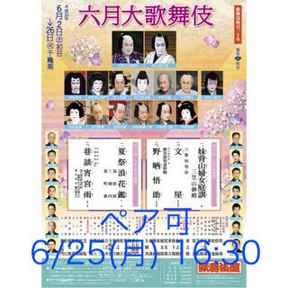 良席ペア可 6/25(月) 16:30 六月大歌舞伎 夜の部 1階1等定価以下(伝統芸能)