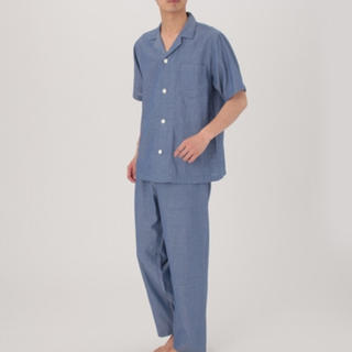 MUJI (無印良品) - 脇に縫い目のない細番手二重ガーゼ 半袖パジャマ・紳士L