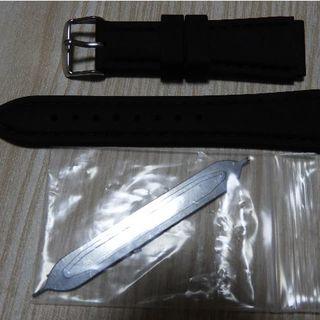 スポーツラバー時計バンド  20mm ブラック 交換用工具付き (ラバーベルト)