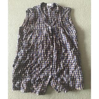 シェル(Cher)のcher フルーツケイクのチェック柄のチュニック丈のブラウス(シャツ/ブラウス(半袖/袖なし))