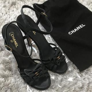シャネル(CHANEL)のシャネル サンダル♡CHANEL 黒 36 1/2(ハイヒール/パンプス)