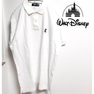 ディズニー(Disney)の新品未使用 ミッキー ディズニー ワンポイント ポロシャツ 白 ホワイト(ポロシャツ)