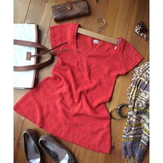 ルカ(LUCA)のLUCA ふわっとチュニック 赤 サマーニット 半袖ニット アルパカ混 M(カットソー(半袖/袖なし))