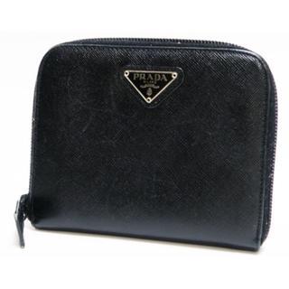 プラダ(PRADA)の正規品鑑定済 PRADA プラダ 二つ折り財布 黒 サフィアーノ(財布)